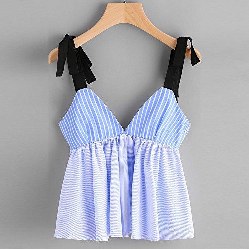 T Sans Col Bandage Ray Gilet Manches V Tops Trydoit Femmes Shirt Profond Blouse pwTqEEvH
