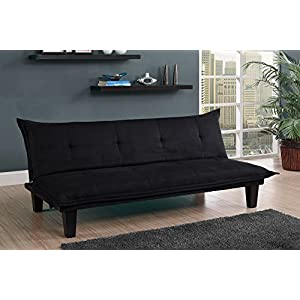 DHP Lodge Convertible Futon Couch Bed with Microfiber Upholstery and Wood Legs - Black