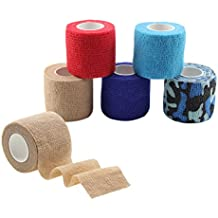 MUEUSS Self Adhesive Bandage Tape Vet Wrap Self Adherent Cohesive Bandages Waterproof Non-Woven Elastic Bandage for Medical Sport Pet Animals Supply FDA Approved (6 Rolls, 2 inches x 5 Yards)