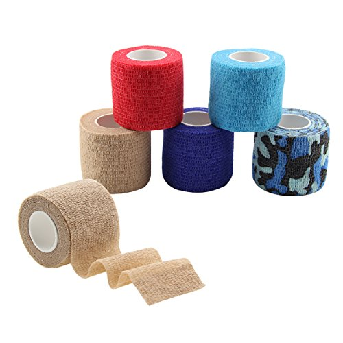 MUEUSS Self Adhesive Bandage Tape Vet Wrap Self Adherent Cohesive Bandages First Aid Wrap Waterproof Non-Woven Elastic Bandage for Animals Pet Sports Supply FDA Approved 6 Rolls, 2 inches x 5 Yards -