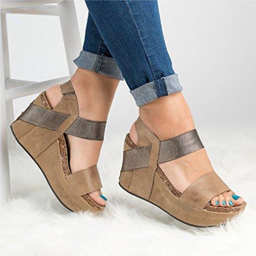 Minetom Mode Toe Beige Casual A Romaines Sandals Boucle PU Hauts Été Talons Sandale Femme Talon Chaussure Peep Compensé Retro rRUnIr4