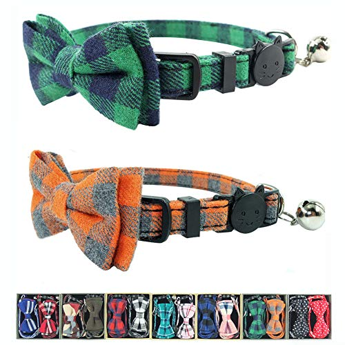 Cat Collar Breakaway with Bell and Bow Tie, Plaid Design Adjustable Safety Kitty Kitten Collars Set of 2 PCS (6.8-10.8in) (Green&Orange Plaid) (Cat Collar Orange Safety)