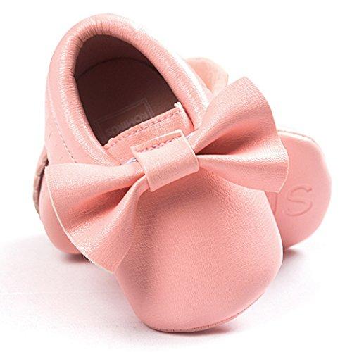 HAPPY CHERRY Suaves Zapatos Calzado de Primeros Pasos Zapatitos sin Cordones Mocasines con Borlas para Bebés Niños Niñas 12 - 18 Meses 13CM Talla EU 21 Color Rojo Brillante Rosa 2
