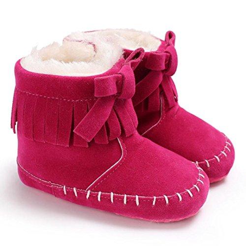 Igemy 1 Paar Neugeboren Baby Girl Soft Sohle Stiefel Säugling Kleinkind Warming Schuhe Pink