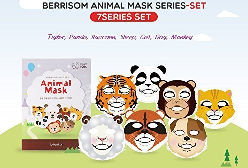 Berrisom Animal Mask Series Set 7 Characters Fun N Moisturizing Facial Mask Pack (25ml x 7pcs) - Cat Face Mask
