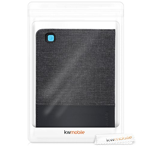 kwmobile Case Compatible with Kobo Aura Edition 2 - PU Leather and Canvas e-Reader Cover - Dark Blue/Black