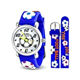 Bling Jewelry Blue Soccer Football Sports Kids Watch Stainless Steel Back