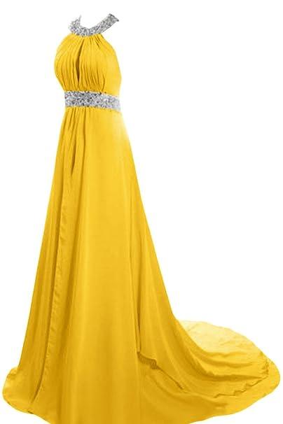 Sunvary a-Line joya satinado elegante noche vestido de fiesta vestidos de maternidad Amarillo Daffodil