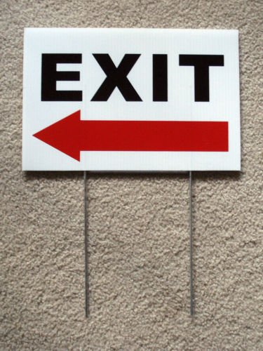 VINBOX EXIT with ARROW POINTING LEFT 8'', x12'', Plastic Coroplast Sign with Stake from VINBOX