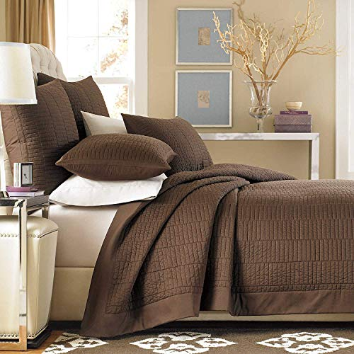 Real Simple Dune Reversible Coverlet (Chocolate, King SHAM)