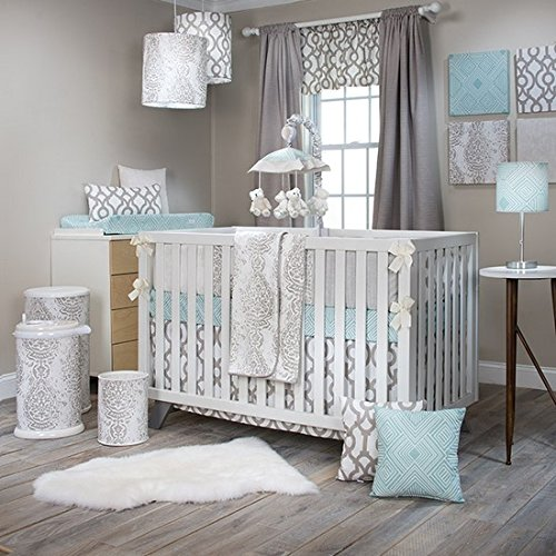 Glenna Skirt Cotton Jean Crib (Sweet Potato Soho 3 Piece Set (Includes Quilt, Aqua Print Sheet, Crib Skirt))