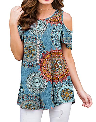 - PrinStory Women's Short Sleeve Casual Cold Shoulder Tunic Tops Loose Blouse Shirts Floral Print Floral Print Mix Blue-XL