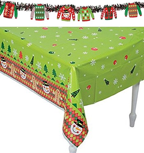 (Ugly Sweater Party Set - Includes Ugly Sweater tablecloth and Garland)