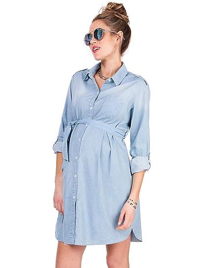 74923e9e758 Seraphine Women s Light Chambray Belted Maternity Shirt Dress Size 10