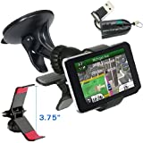 """ChargerCity Exclusive GPS Vehicle Suction Mount Kit for Garmin Nuvi 3597 2797 2757 2597 2577 2557 2497 2457 42 44 52 54 LM LT LMT 3.5""""- 5"""" inch GPS Navigator w/Free Micro SD Card Reader (Best Replacement for 010-11983-00)"""