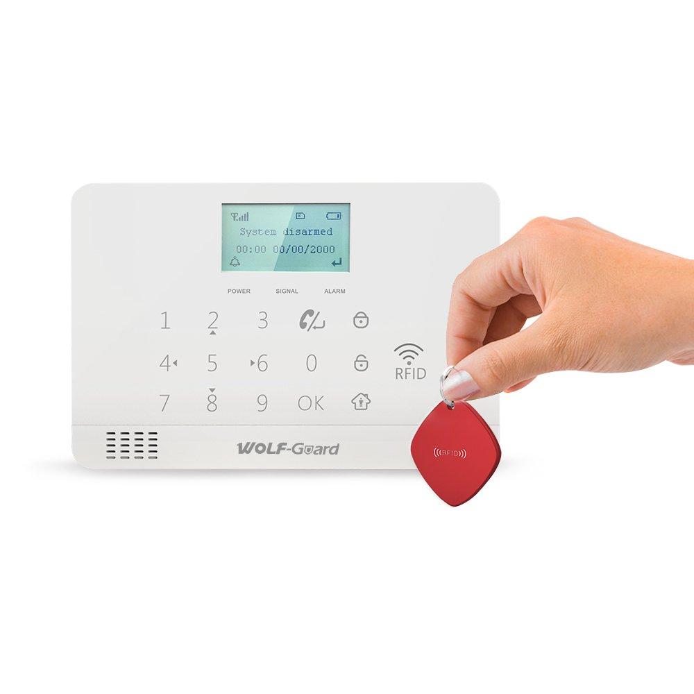 Wolf-Guard MR1-JD-W06 Sistema de alarma inal/ámbrico GSM y APP con PIR a prueba de mascotas sistema de seguridad para el hogar con marcaci/ón autom/ática bocina solar externa