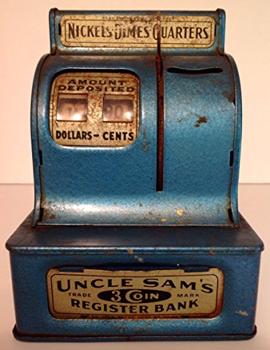 Uncle Sam's 3 Coin Register Mechanical Bank Blue Vintage for sale  Delivered anywhere in USA