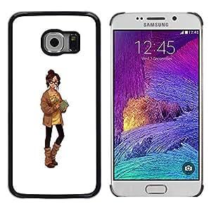 Caucho caso de Shell duro de la cubierta de accesorios de protección BY RAYDREAMMM - Samsung Galaxy S6 EDGE SM-G925 - Sexy Librarian Sweater Woman