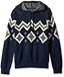 Lucky Brand Men's Intarsia Hooded Sweatshirt, Navy Multi, XL