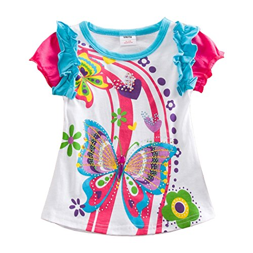 VIKITA Little Girls Cotton Sequins Flower Print Short Sleeve T-Shirt Top S3916White 7T]()