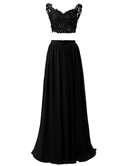 Dresstells reg reg; Long Prom Dress Two Part Evening Party Dress Illusion with Applique
