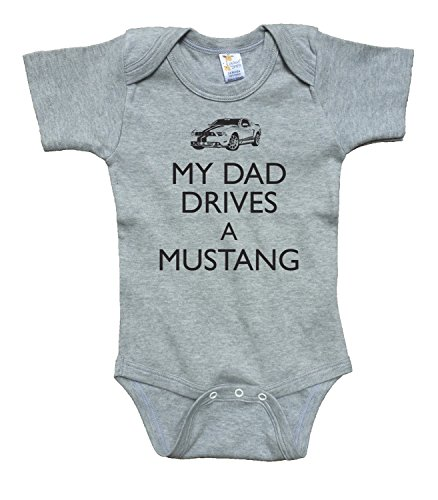 Daddy Drives - Dad Drives Mustang-Gray Bodysuit baby clothing black text, 65/35 poly cotton blend (0-3)