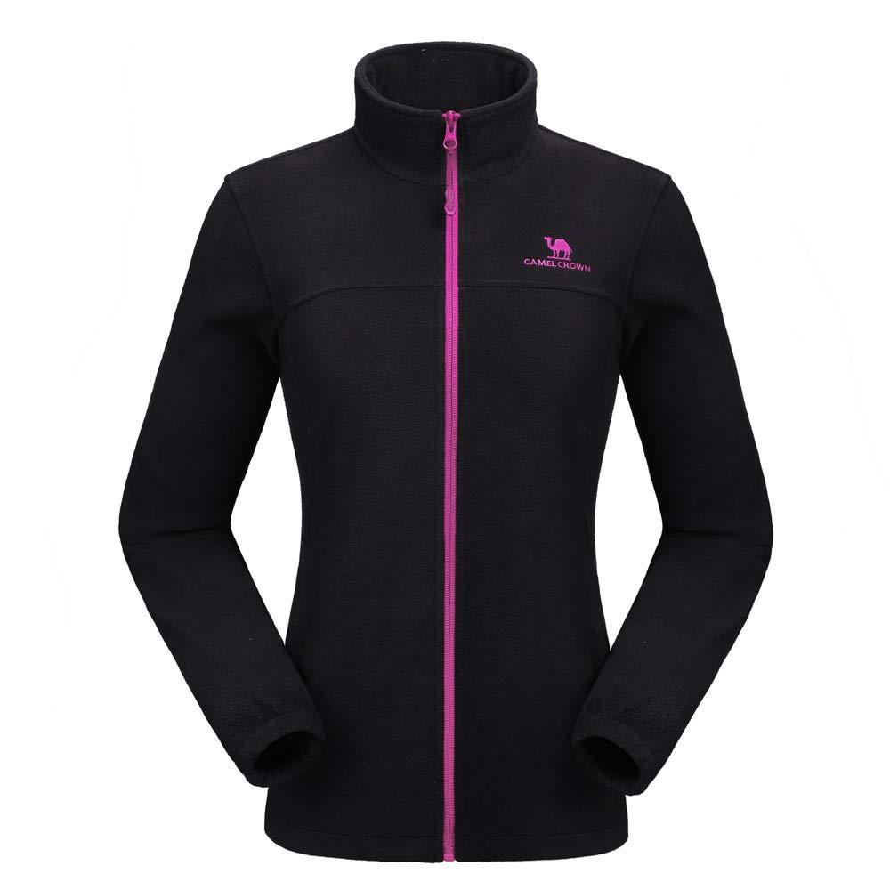 CAMEL CROWN Women Full Zip Fleece Jackets with Pockets Soft Polar Fleece Coat Jacket for Fall Winter Outdoor Black M