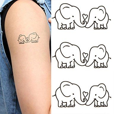 Discount WST Elephants Lovers Lovely Tattoo Stickers Temporary Tattoos(1 Pc)