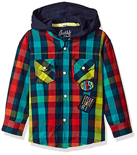 GUESS Sleeve Hooded Woven Plaid