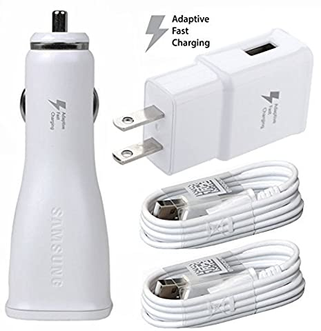 Verizon Samsung Galaxy Core Prime Adaptive Fast Charger Micro USB 2.0 [Car & Home Charger + 2 Micro USB Cable] AFC uses dual voltages for up to 50% faster charging! - WHITE - Bulk (Samsung Phone Charger Verizon)