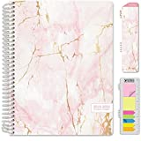 HARDCOVER Academic Year 2019-2020 Planner: (July 2019 Through July 2020) 8.5'x11' Daily Weekly Monthly Planner Yearly Agenda. Bonus Bookmark, Pocket Folder and Sticky Note Set (Pink Marble)