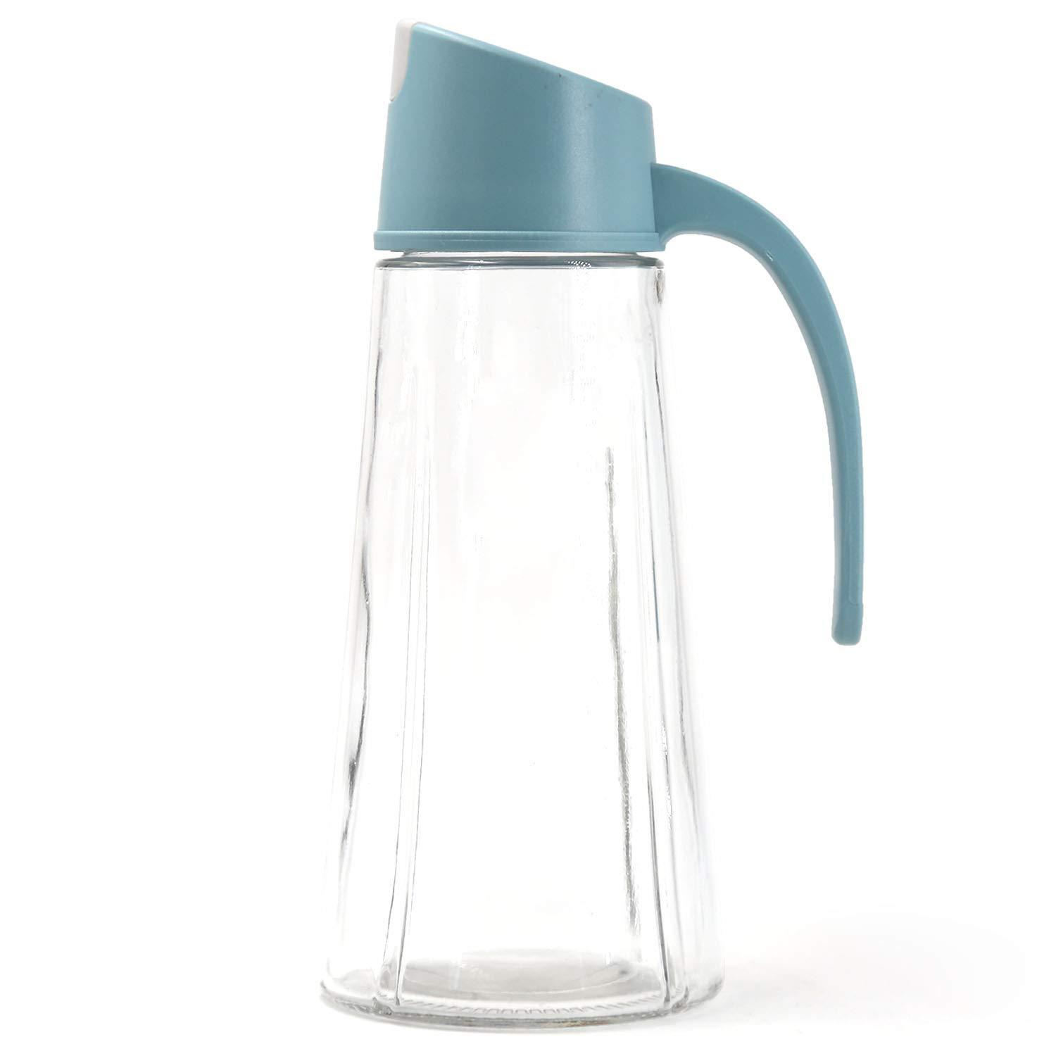 OitiO Non-Drip Glass Oil & Vinegar Container and Dispenser Bottle with Automatic Cap, Leakproof, Automatic Stopper, Precise-Pour Spout, and Non-Slip Handle,20.5oz (Blue, 500ML) and Non-Slip Handle, 20.5oz (Blue