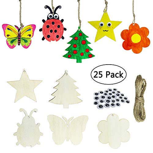 (Cocostar 25PCS in Set Unfinished Wooden Cutouts Banner Favor Tags Gift Tags Treats Tags for DIY Kids Cards Wedding Decorations with Tree&Butterfly&Ladybug&Star&Flower Strings Googly Wiggle Eyes)