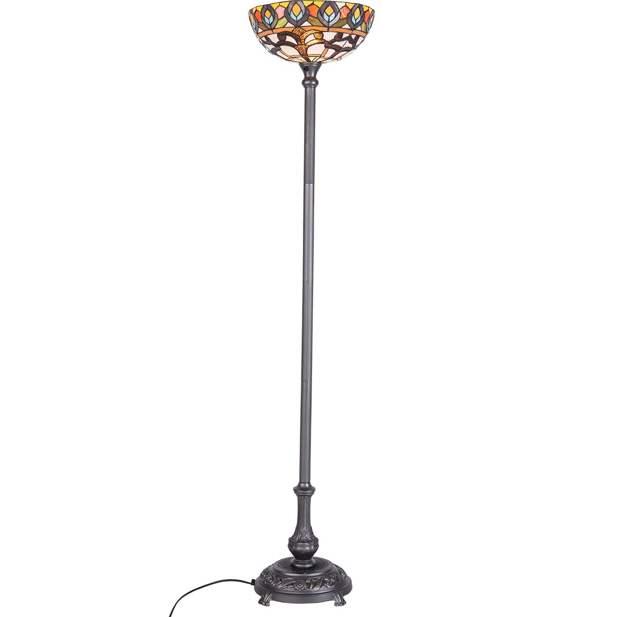QIRUI Tiffany style Retro Floor Lamp with Stained Glass Shade-8805
