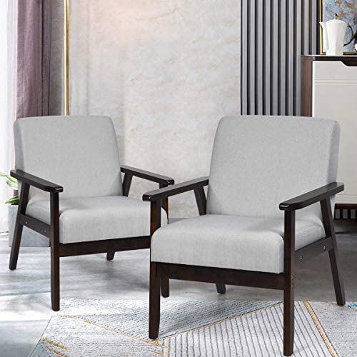 Giantex Set of 2 Mid-Century Modern Accent Chair