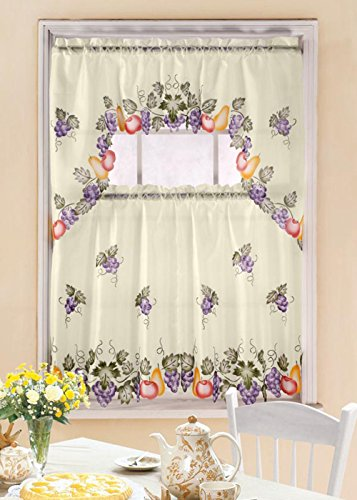 3 Pc Kitchen Curtain Swag Valance Set, Grape Vine Printed