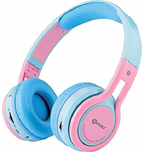 Contixo KB-2600 Kid Safe 85DB Over the Ear Foldable Wireless Bluetooth Headphone with Volume Limiter, Built-in Micro Phone, Micro SD card Music Player, FM Stereo Radio, Audio Input & Output, Blue Pink
