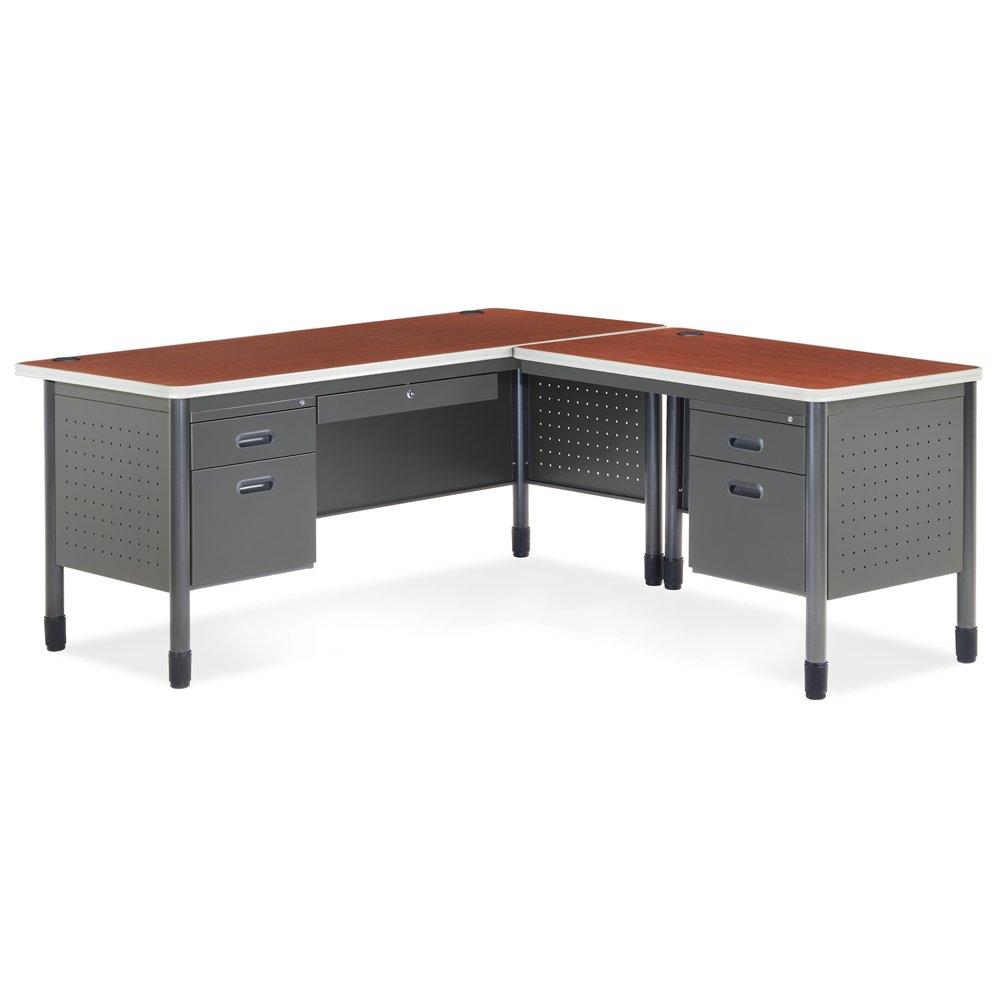 Amazon com ofm mesa series l shaped steel office desk with laminate top right pedestal return and oak top durable corner utility desk 66366r oak