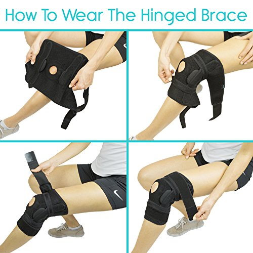 735cf3568a ... Ligament Vive Hinged Knee Brace - Adjustable Open Patella Support for  Swollen ACL, Tendon, ...