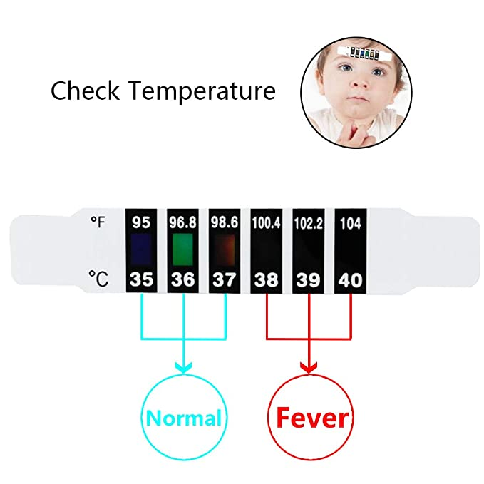 15 Pcs Forehead Thermometer Strips-Instant Read Forehead Thermometer Strips,Reusable Thermometer Strip for Checking Baby Kid Adult Temperature,95℉to 104℉,Travel-Sized