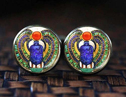 Egyptian Scarab cufflinks, Scarab cufflinks, ancient egypt cufflinks, Egyptian cuff links, Scarab gift, glass dome - Cufflinks Amethyst Plated Silver