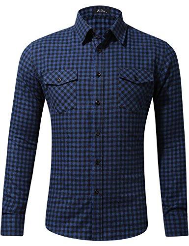 Long Sleeve Flannel Shirt Thermal Plaid Checkered Jacket (Navy Blue Tartan, XX-Large) ()