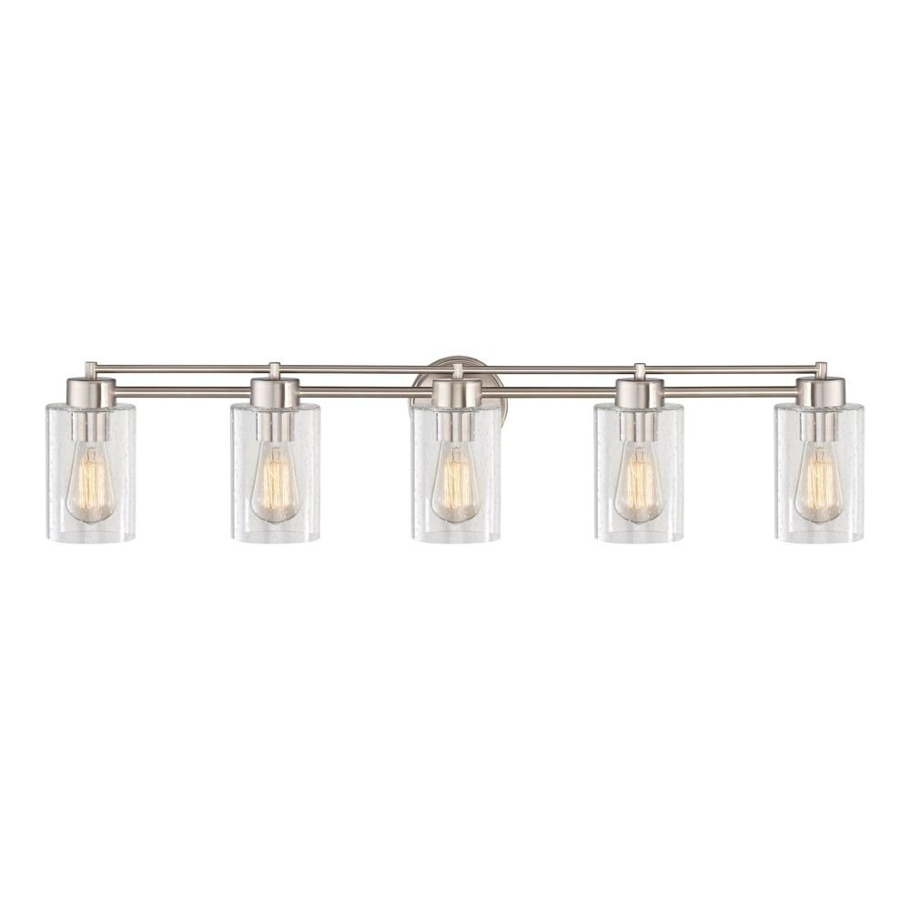 Seeded Glass Bathroom Light Satin Nickel 5 Lt