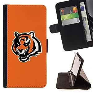 BullDog Case - FOR/Samsung Galaxy S4 Mini i9190 / - / cool orange tiger roar /- Monedero de cuero de la PU Llevar cubierta de la caja con el ID Credit Card Slots Flip funda de cuer