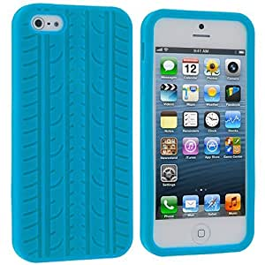 Accessory Planet(TM) Baby Blue Tire Silicone Soft Gel Rubber Skin Case Cover Accessory for Apple iPhone 5 / 5S