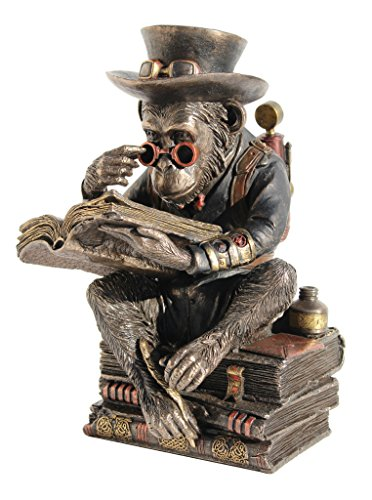 Steampunk Metallic Bronze / Copper Finished Chimpanzee Scholar 7.75 Inch High by Masada Goods