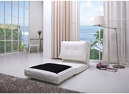 Darlington White Leather Single Sleeper Chair