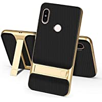 Ntron Dual Hybrid Shock Proof Kick Stand Back Cover Case for Xiaomi MI A2 (Gold)