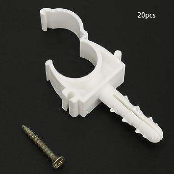 20mm Abrazadera de tubo en forma de U Abrazadera de tubo de agua pl/ástica Clips fijos Soporte de soporte con tornillos