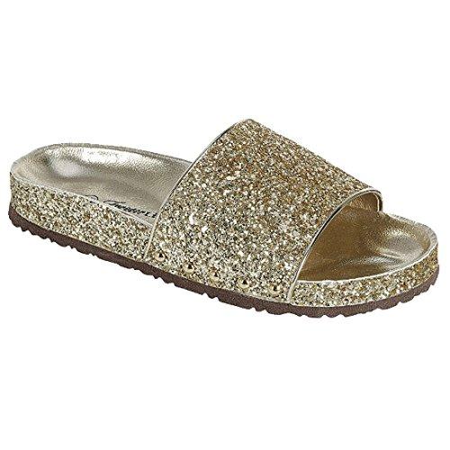Forever Fr01 Womens Sparkle Glitter Wide Band Slide Sandalen Goud